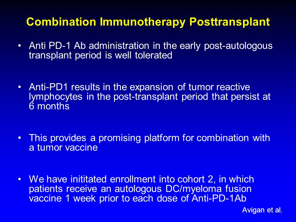 Combination Immunotherapy Posttransplant Anti PD-1 Ab administration in the early post-autologous transplant period is well tolerated Anti-PD1 results