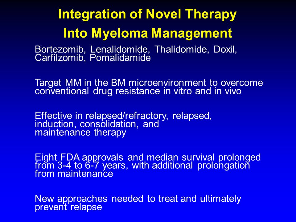 Integration of Novel Therapy Into Myeloma Management Bortezomib, Lenalidomide, Thalidomide, Doxil, Carfilzomib, Pomalidamide Target MM in the BM microenvironment to overcome conventional drug resistance in vitro and in vivo Effective in relapsed/refractory, relapsed, induction, consolidation, and maintenance therapy Eight FDA approvals and median survival prolonged from 3-4 to 6-7 years, with additional prolongation from maintenance New approaches needed to treat and ultimately prevent relapse