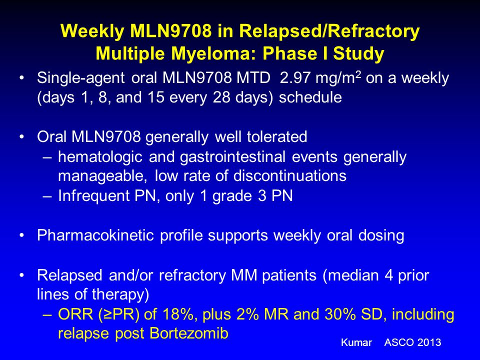 Weekly MLN9708 in Relapsed/Refractory Multiple Myeloma: Phase I Study Single-agent oral MLN9708 MTD 2.97 mg/m 2 on a weekly (days 1, 8, and 15 every 2
