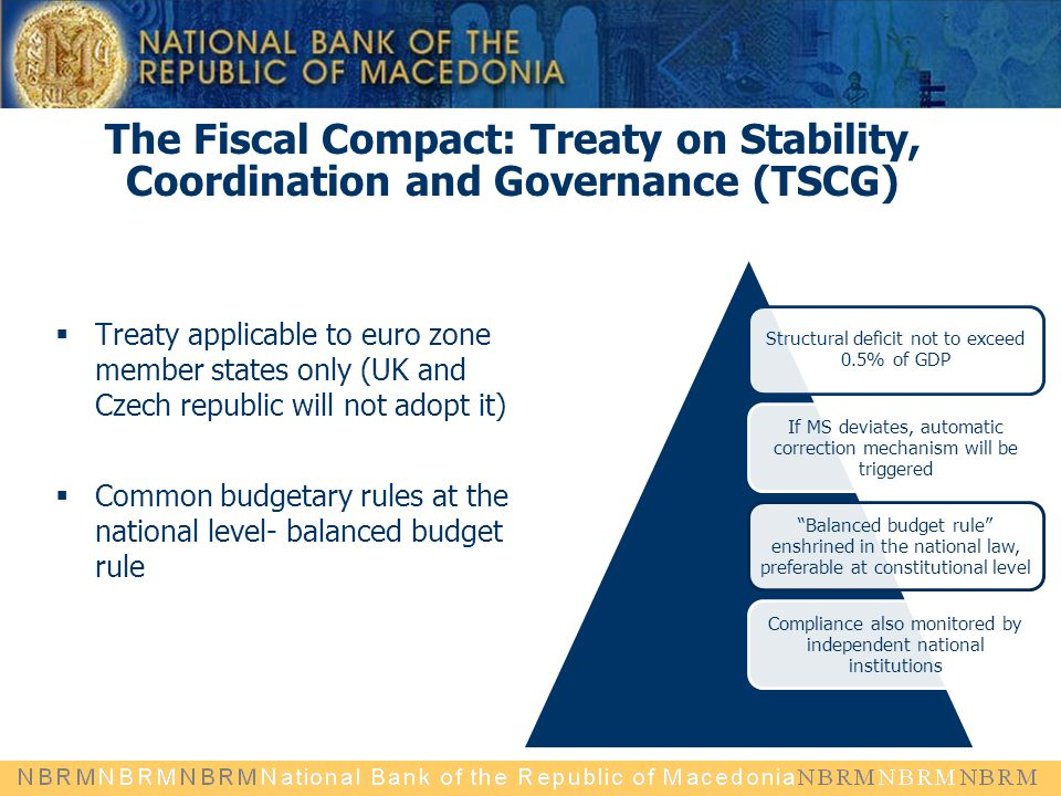The Fiscal Compact: Treaty on Stability, Coordination and Governance (TSCG)  Treaty applicable to euro zone member states only (UK and Czech republic