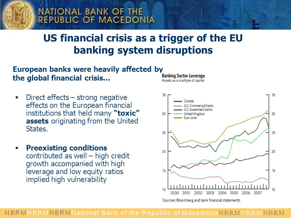" Direct effects – strong negative effects on the European financial institutions that held many ""toxic"" assets originating from the United States. "
