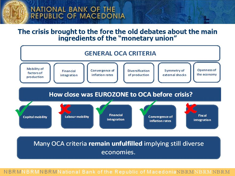 "The crisis brought to the fore the old debates about the main ingredients of the ""monetary union"""
