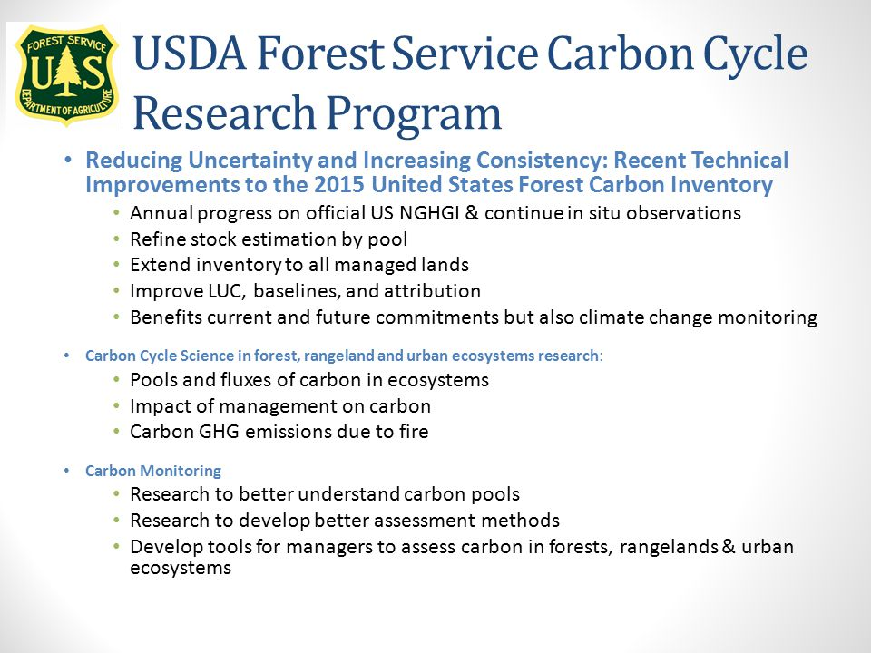 USDA Forest Service Carbon Cycle Research Program Reducing Uncertainty and Increasing Consistency: Recent Technical Improvements to the 2015 United St