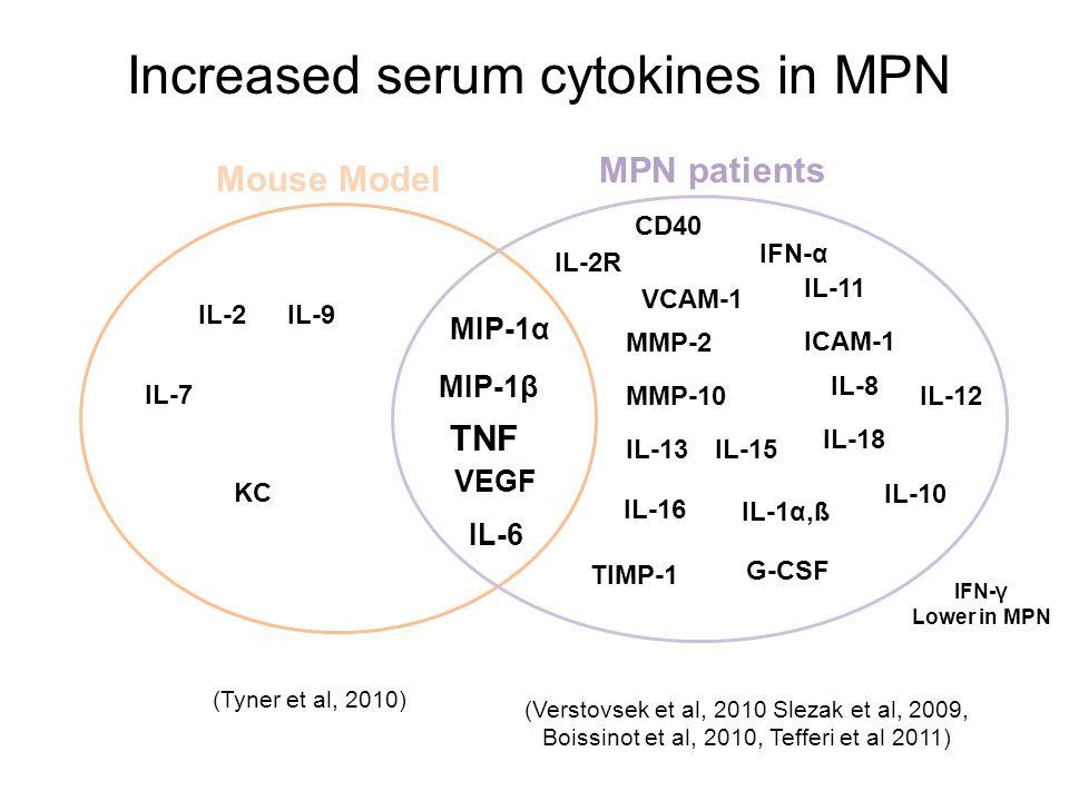 IFN-γ Lower in MPN (Tyner et al, 2010) (Verstovsek et al, 2010 Slezak et al, 2009, Boissinot et al, 2010, Tefferi et al 2011) KC CD40 IL-2 IL-7 IL-9 I
