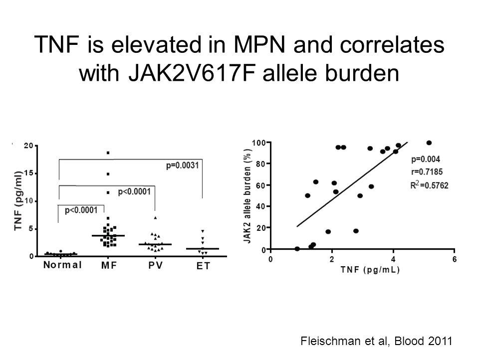 TNF is elevated in MPN and correlates with JAK2V617F allele burden Fleischman et al, Blood 2011