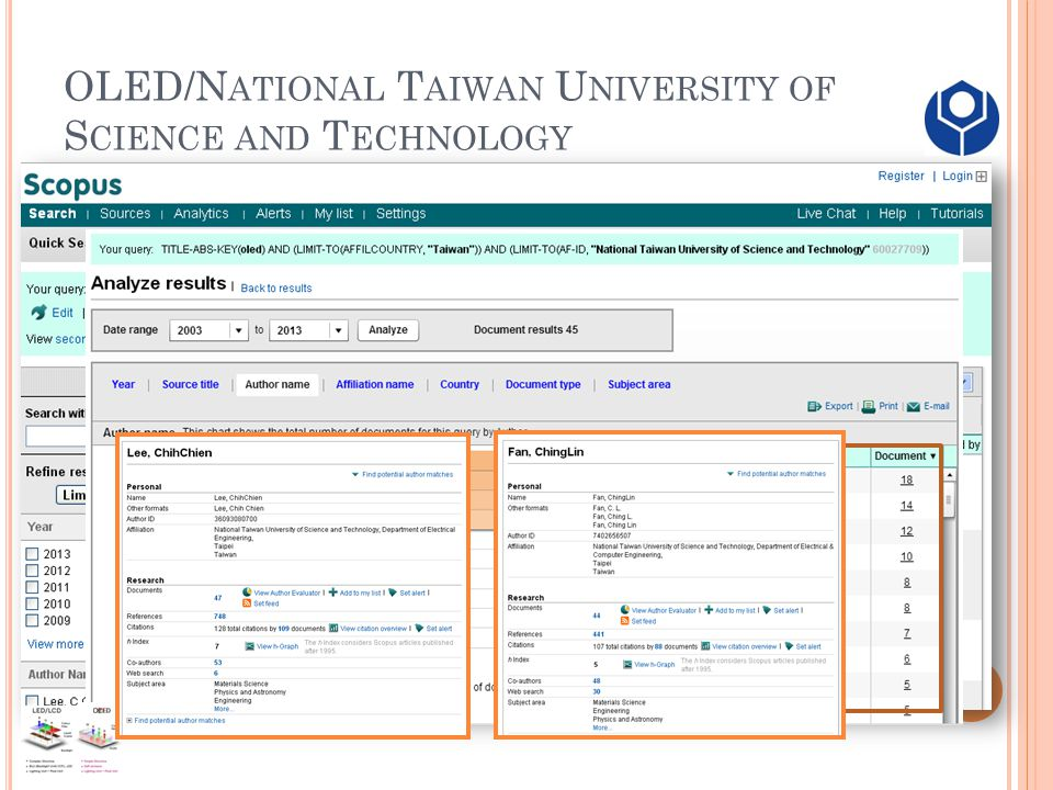 OLED/N ATIONAL T AIWAN U NIVERSITY OF S CIENCE AND T ECHNOLOGY