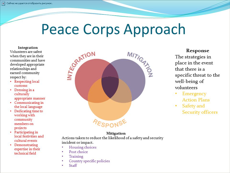 Peace Corps Approach Integration Volunteers are safest when they are in their communities and have developed appropriate relationships and earned comm