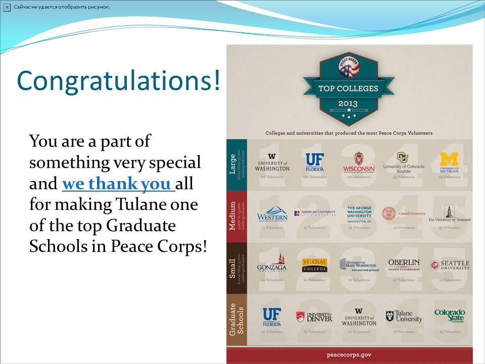 Congratulations! You are a part of something very special and we thank you all for making Tulane one of the top Graduate Schools in Peace Corps!