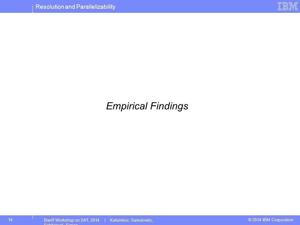 Resolution and Parallelizability © 2014 IBM Corporation14 Banff Workshop on SAT, 2014 | Katsirelos, Samulowitz, Sabharwal, Simon Empirical Findings