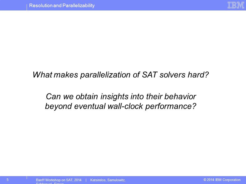 Resolution and Parallelizability © 2014 IBM Corporation5 Banff Workshop on SAT, 2014 | Katsirelos, Samulowitz, Sabharwal, Simon What makes parallelization of SAT solvers hard.