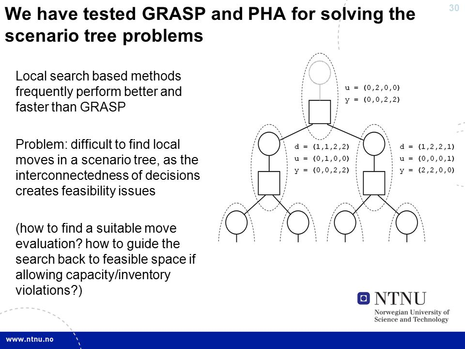 30 We have tested GRASP and PHA for solving the scenario tree problems Local search based methods frequently perform better and faster than GRASP Problem: difficult to find local moves in a scenario tree, as the interconnectedness of decisions creates feasibility issues (how to find a suitable move evaluation.