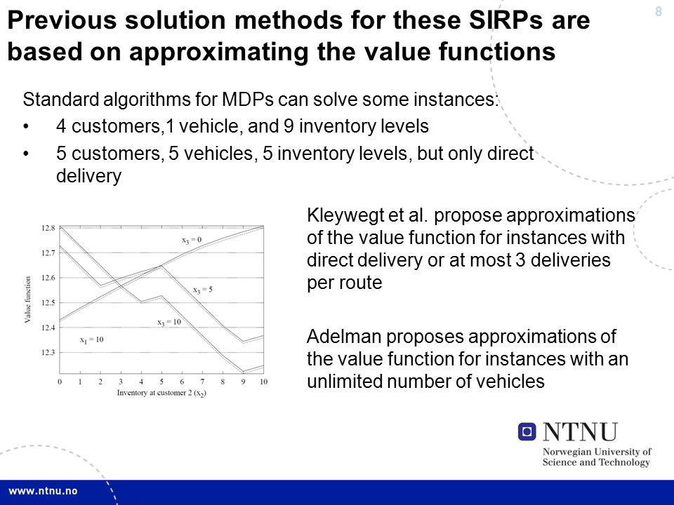 8 Previous solution methods for these SIRPs are based on approximating the value functions Standard algorithms for MDPs can solve some instances: 4 customers,1 vehicle, and 9 inventory levels 5 customers, 5 vehicles, 5 inventory levels, but only direct delivery Kleywegt et al.