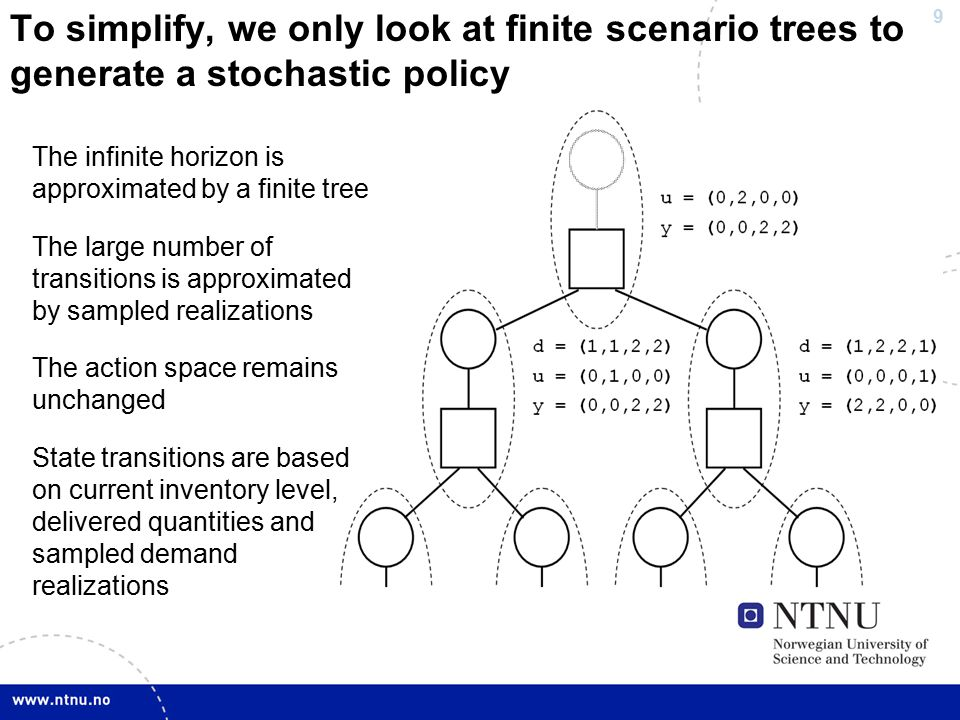 9 To simplify, we only look at finite scenario trees to generate a stochastic policy The infinite horizon is approximated by a finite tree The large number of transitions is approximated by sampled realizations The action space remains unchanged State transitions are based on current inventory level, delivered quantities and sampled demand realizations