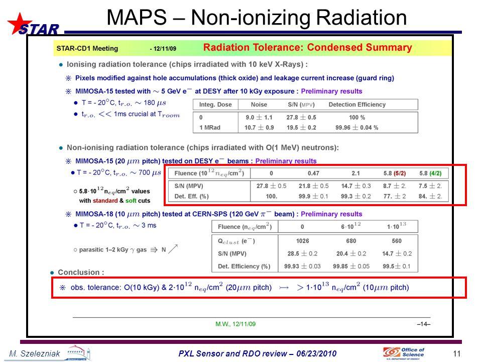 M. Szelezniak11PXL Sensor and RDO review – 06/23/2010 STAR MAPS – Non-ionizing Radiation