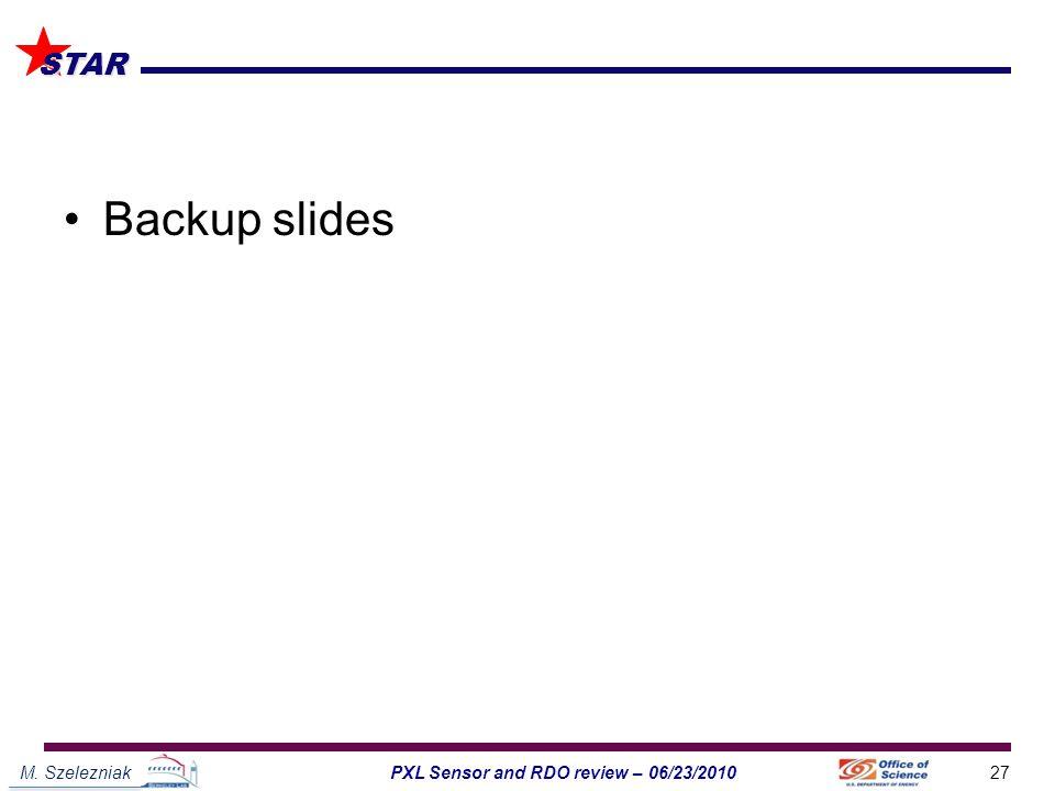 M. Szelezniak27PXL Sensor and RDO review – 06/23/2010 STAR Backup slides
