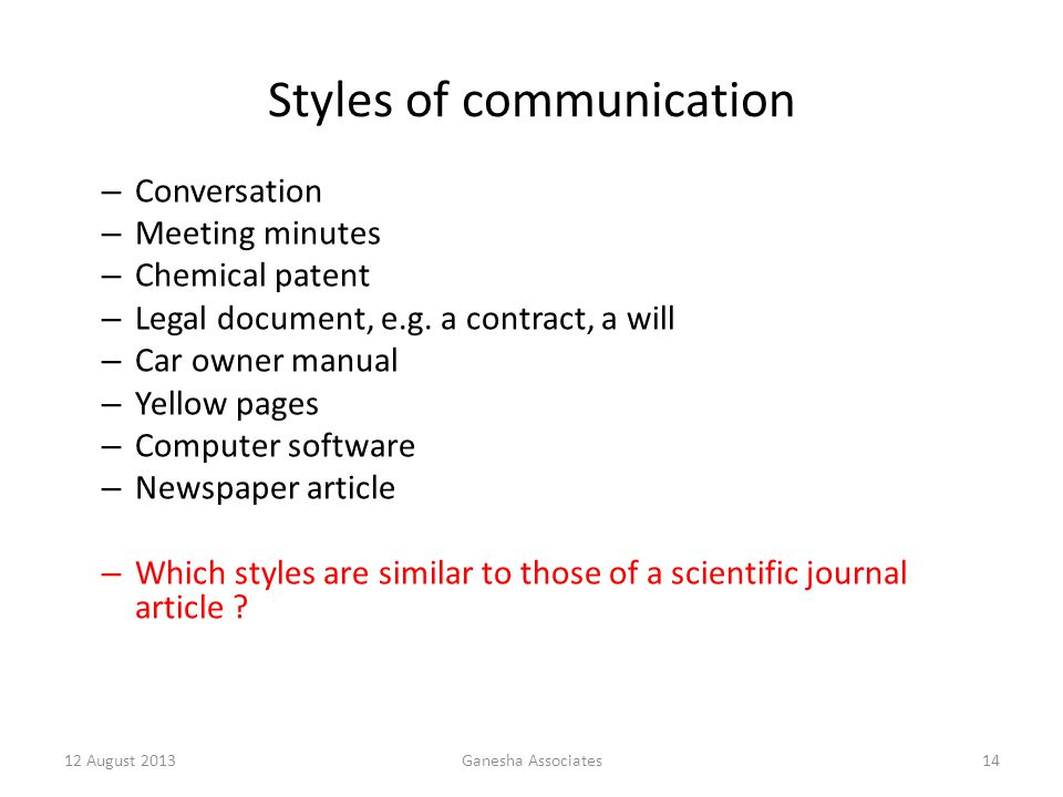 12 August 2013Ganesha Associates14 Styles of communication – Conversation – Meeting minutes – Chemical patent – Legal document, e.g.