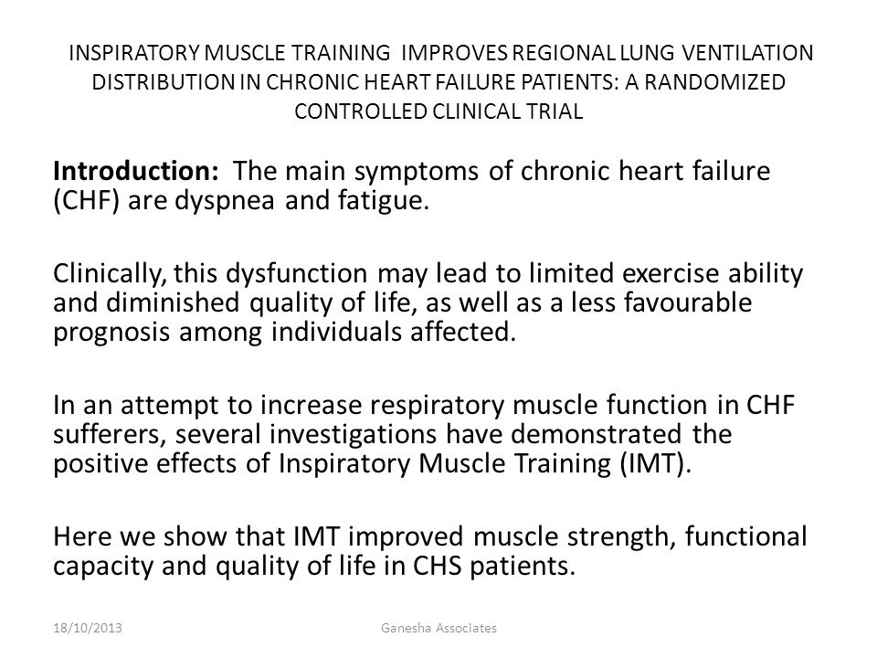 Introduction: The main symptoms of chronic heart failure (CHF) are dyspnea and fatigue.