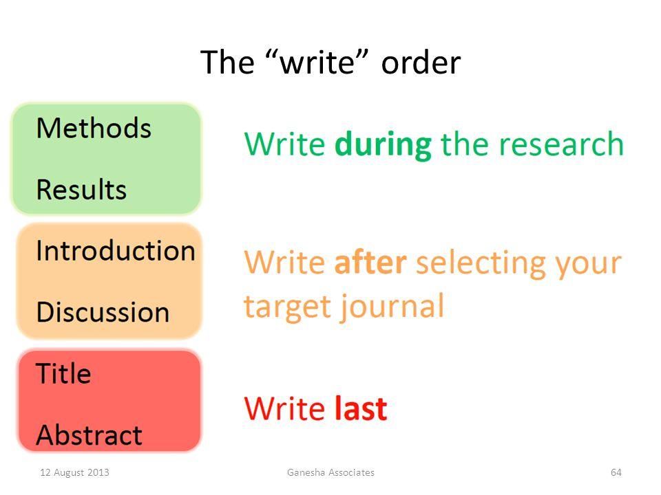 The write order 12 August 2013Ganesha Associates64