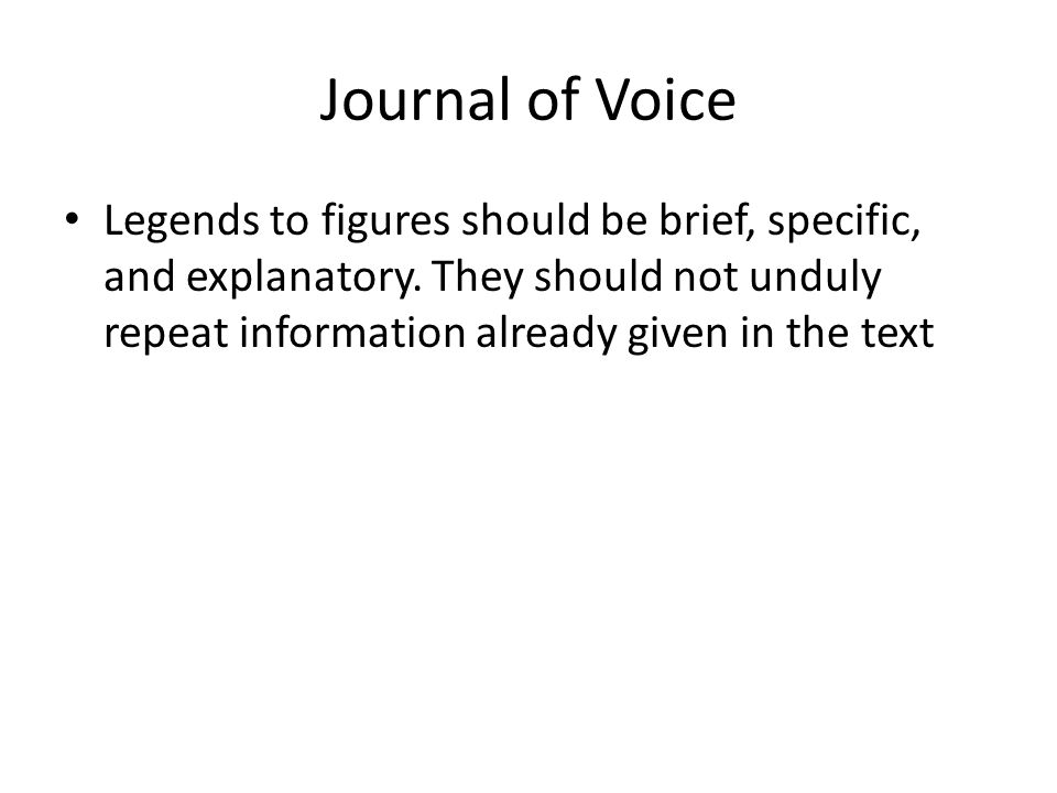 Journal of Voice Legends to figures should be brief, specific, and explanatory.