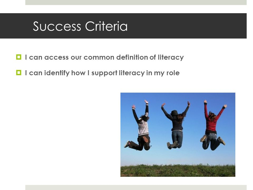 Success Criteria  I can access our common definition of literacy  I can identify how I support literacy in my role
