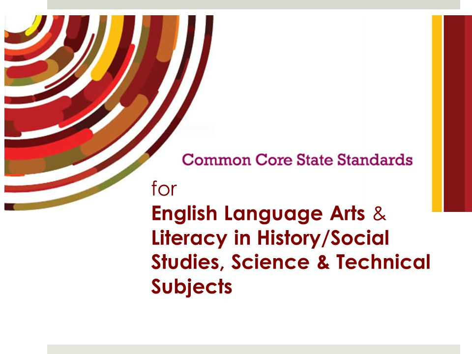 for English Language Arts & Literacy in History/Social Studies, Science & Technical Subjects