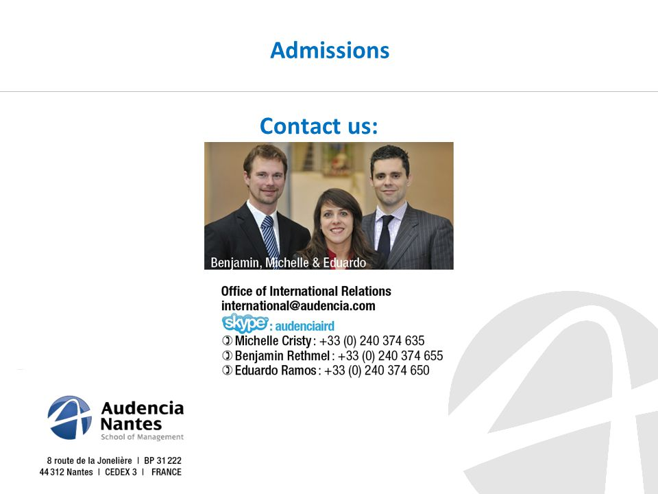 Contact us: Admissions
