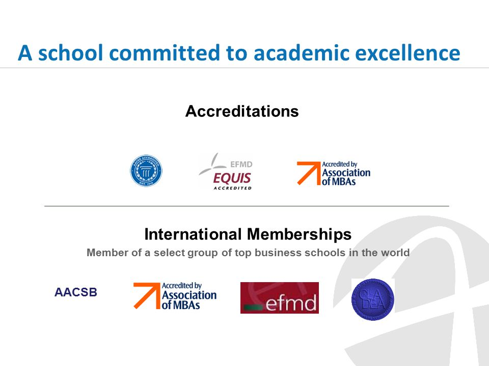 A school committed to academic excellence International Memberships Member of a select group of top business schools in the world Accreditations AACSB