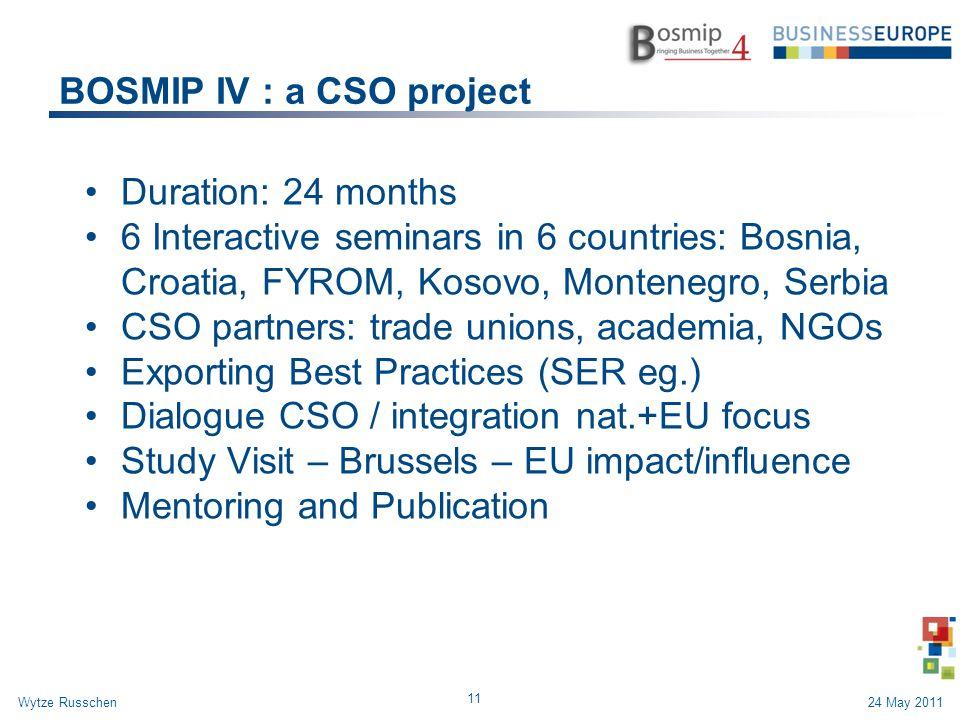 BOSMIP IV : a CSO project Duration: 24 months 6 Interactive seminars in 6 countries: Bosnia, Croatia, FYROM, Kosovo, Montenegro, Serbia CSO partners: