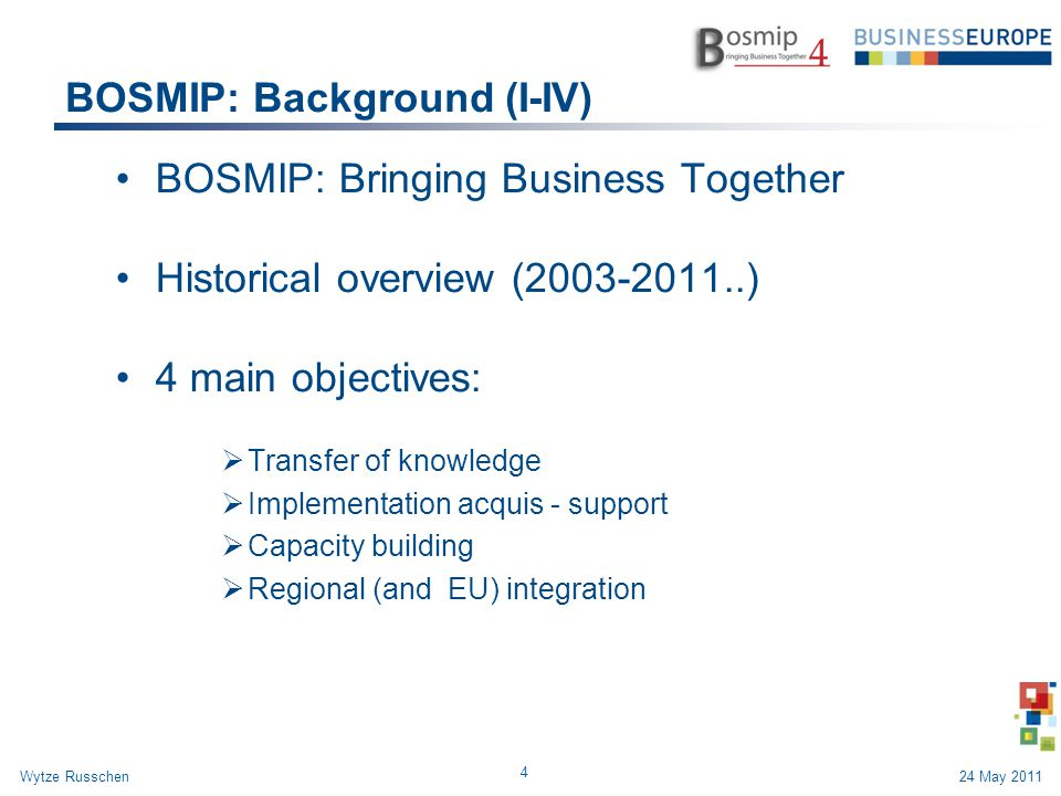 BOSMIP: Background (I-IV) BOSMIP: Bringing Business Together Historical overview (2003-2011..) 4 main objectives:  Transfer of knowledge  Implementa