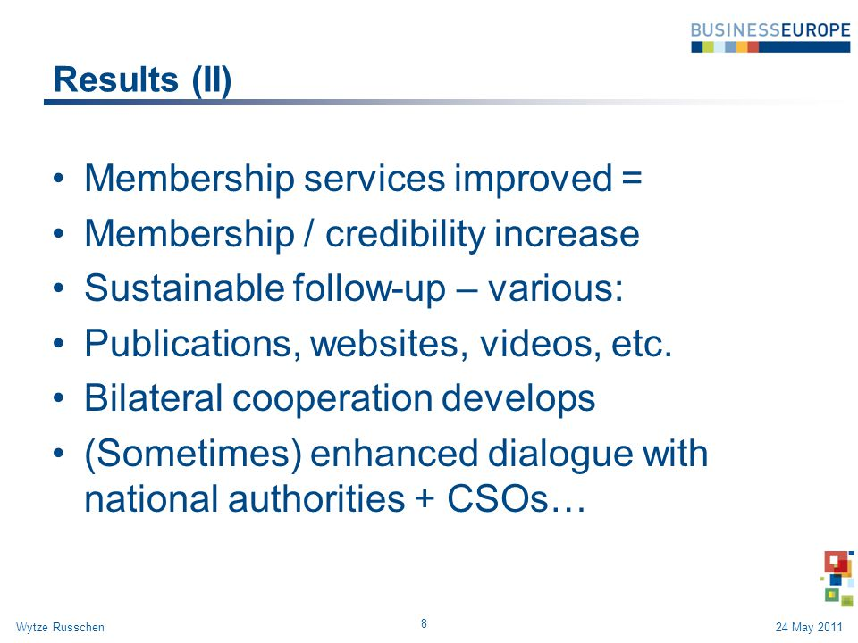 Results (II) Membership services improved = Membership / credibility increase Sustainable follow-up – various: Publications, websites, videos, etc. Bi