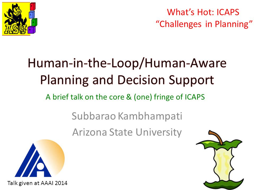 Subbarao Kambhampati Arizona State University What's Hot: ICAPS Challenges in Planning A brief talk on the core & (one) fringe of ICAPS Talk given at AAAI 2014