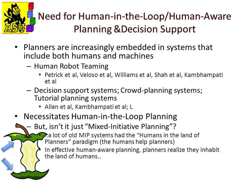 Planners are increasingly embedded in systems that include both humans and machines – Human Robot Teaming Petrick et al, Veloso et al, Williams et al, Shah et al, Kambhampati et al – Decision support systems; Crowd-planning systems; Tutorial planning systems Allen et al, Kambhampati et al; L Necessitates Human-in-the-Loop Planning – But, isn't it just Mixed-Initiative Planning ..a lot of old MIP systems had the Humans in the land of Planners paradigm (the humans help planners) In effective human-aware planning, planners realize they inhabit the land of humans..