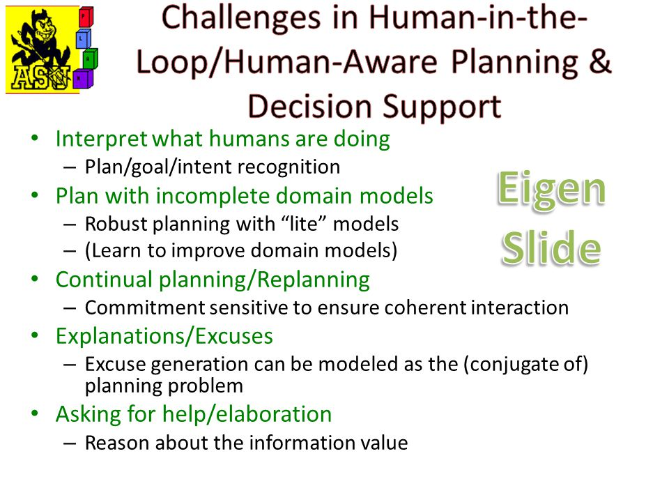 Interpret what humans are doing – Plan/goal/intent recognition Plan with incomplete domain models – Robust planning with lite models – (Learn to improve domain models) Continual planning/Replanning – Commitment sensitive to ensure coherent interaction Explanations/Excuses – Excuse generation can be modeled as the (conjugate of) planning problem Asking for help/elaboration – Reason about the information value