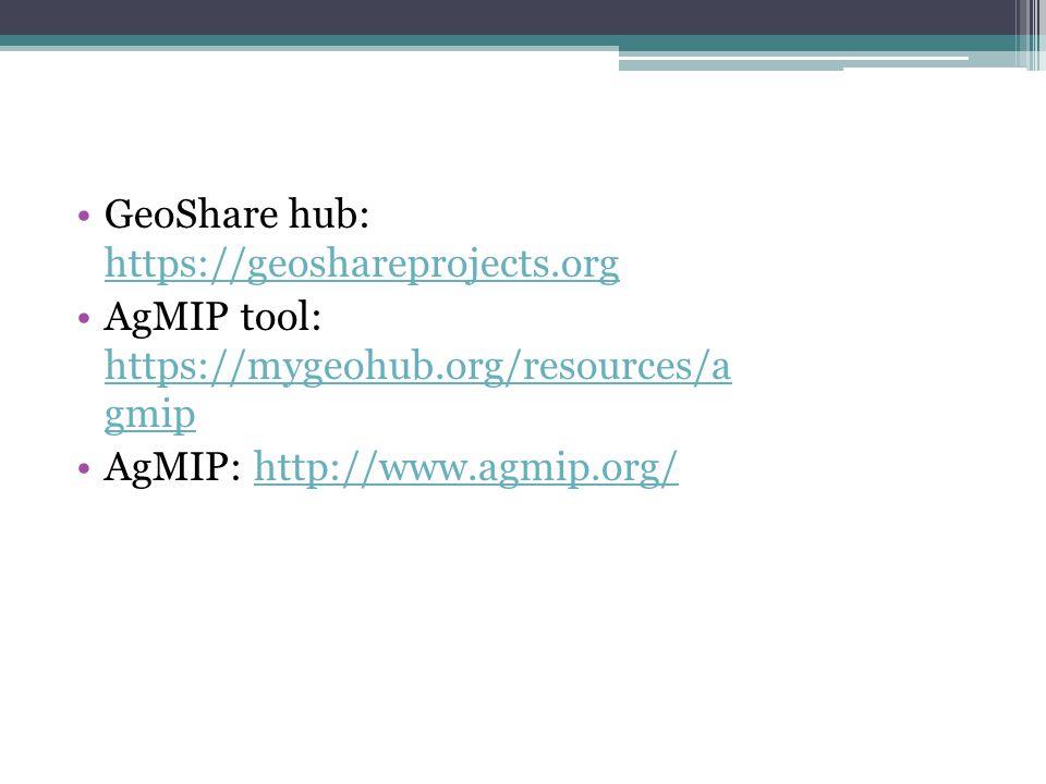 GeoShare hub: https://geoshareprojects.org https://geoshareprojects.org AgMIP tool: https://mygeohub.org/resources/a gmip https://mygeohub.org/resources/a gmip AgMIP: http://www.agmip.org/http://www.agmip.org/
