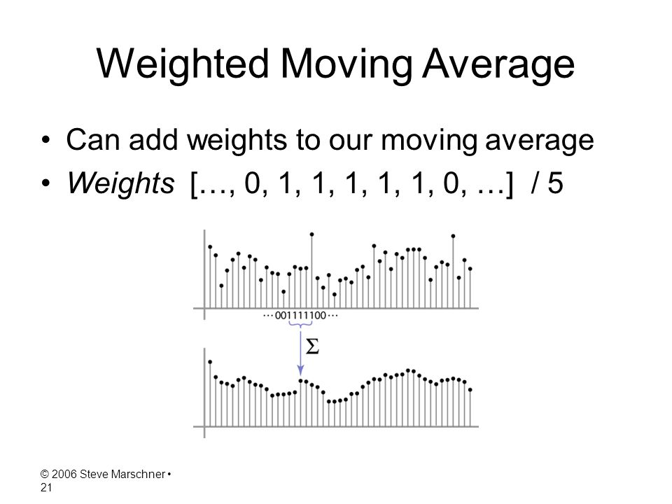 © 2006 Steve Marschner 21 Weighted Moving Average Can add weights to our moving average Weights […, 0, 1, 1, 1, 1, 1, 0, …] / 5