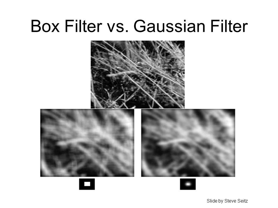 Box Filter vs. Gaussian Filter Slide by Steve Seitz