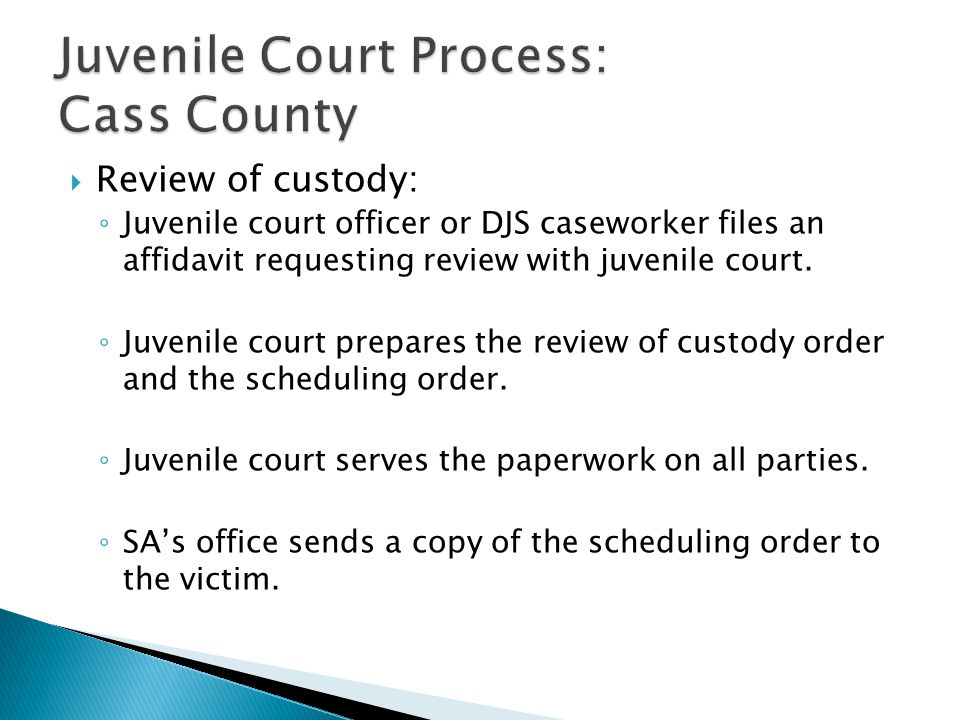  Review of custody: ◦ Juvenile court officer or DJS caseworker files an affidavit requesting review with juvenile court.