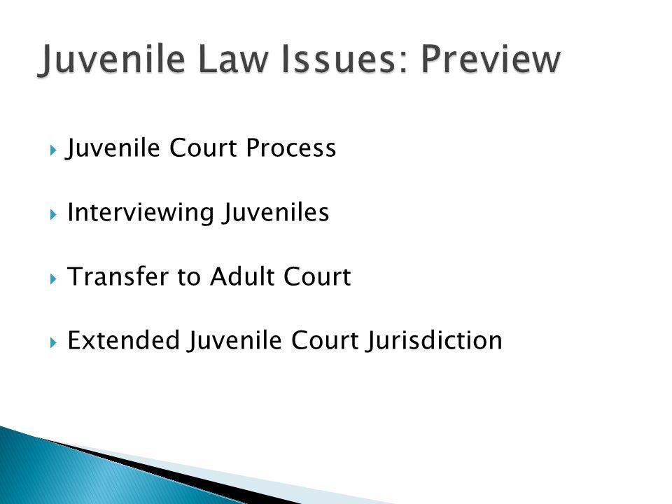  Juvenile Court Process  Interviewing Juveniles  Transfer to Adult Court  Extended Juvenile Court Jurisdiction