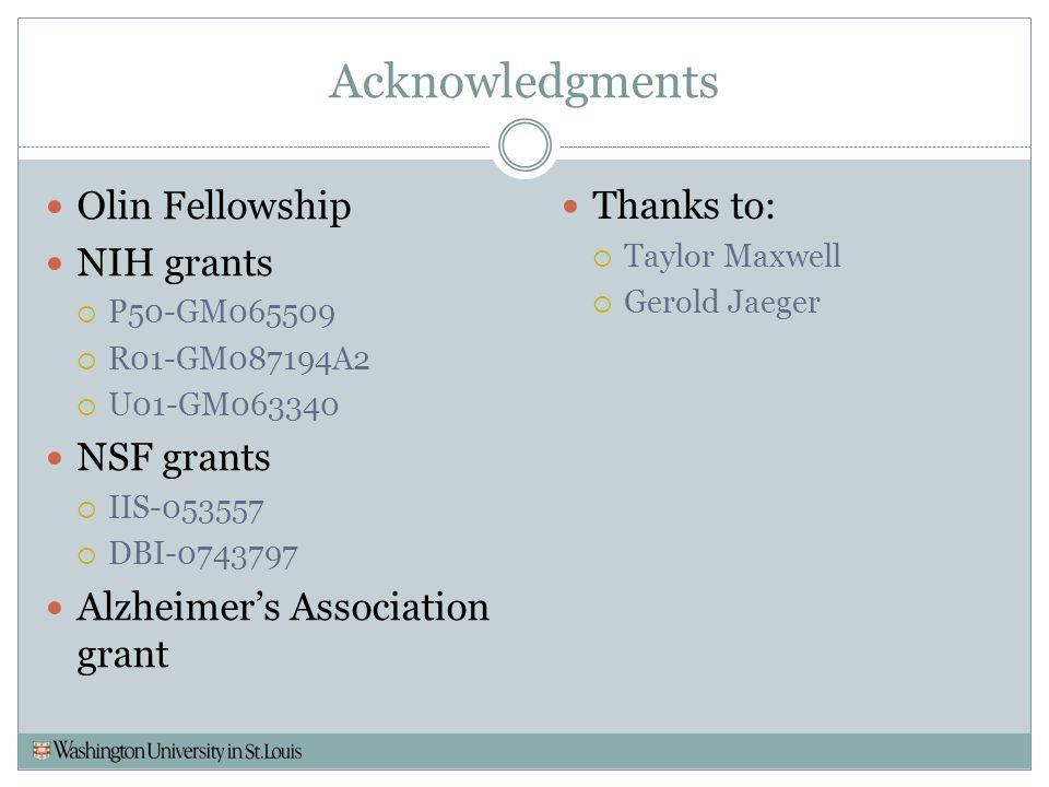 Acknowledgments Olin Fellowship NIH grants  P50-GM065509  R01-GM087194A2  U01-GM063340 NSF grants  IIS-053557  DBI-0743797 Alzheimer's Associatio
