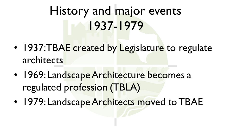 History and major events 1937-1979 1937: TBAE created by Legislature to regulate architects 1969: Landscape Architecture becomes a regulated profession (TBLA) 1979: Landscape Architects moved to TBAE