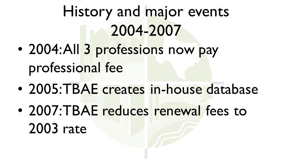 History and major events 2004-2007 2004: All 3 professions now pay professional fee 2005: TBAE creates in-house database 2007: TBAE reduces renewal fees to 2003 rate