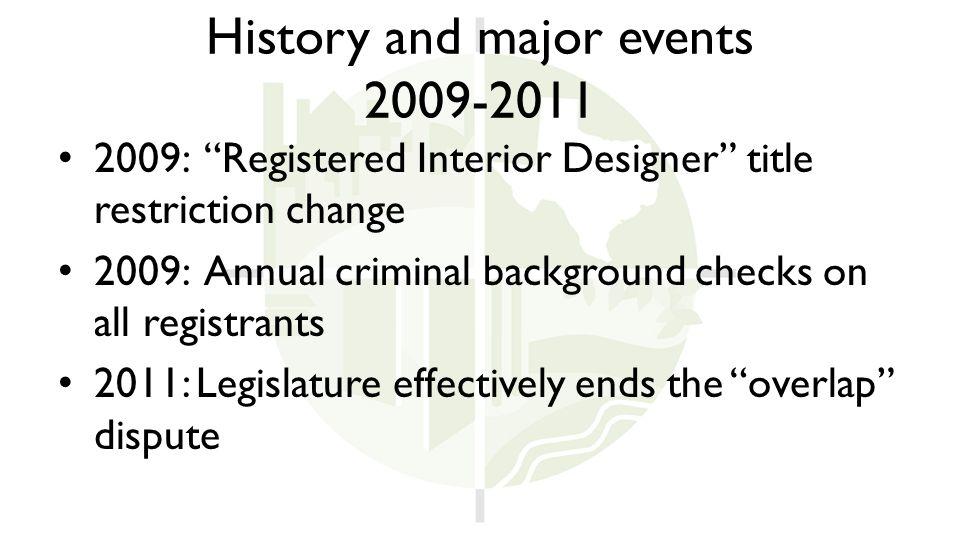 History and major events 2009-2011 2009: Registered Interior Designer title restriction change 2009: Annual criminal background checks on all registrants 2011: Legislature effectively ends the overlap dispute
