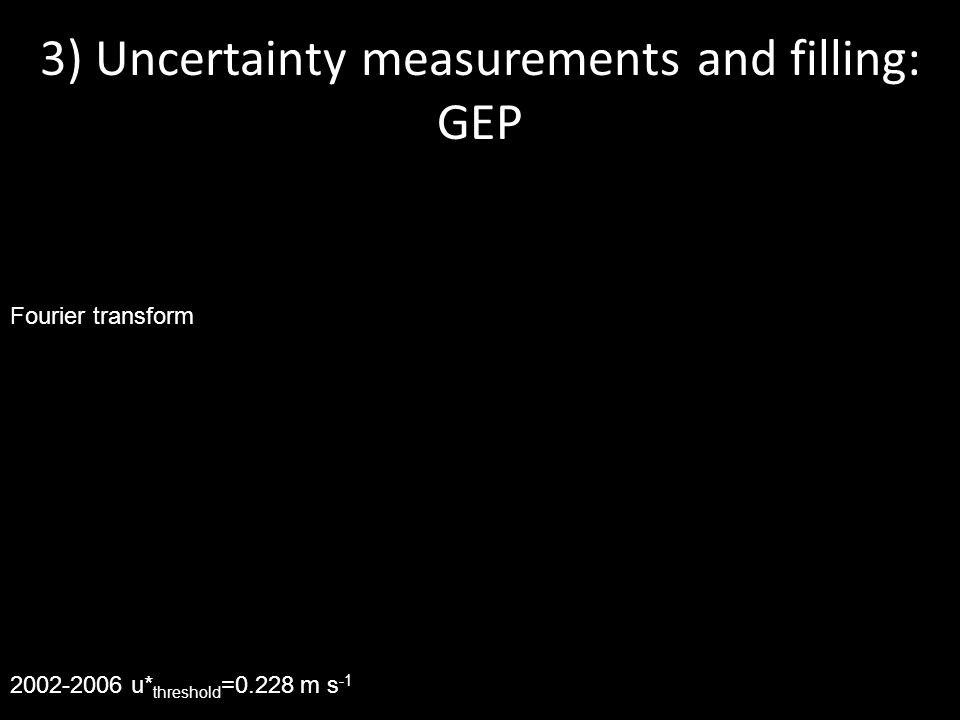 2002-2006 u* threshold =0.228 m s -1 3) Uncertainty measurements and filling: GEP Fourier transform