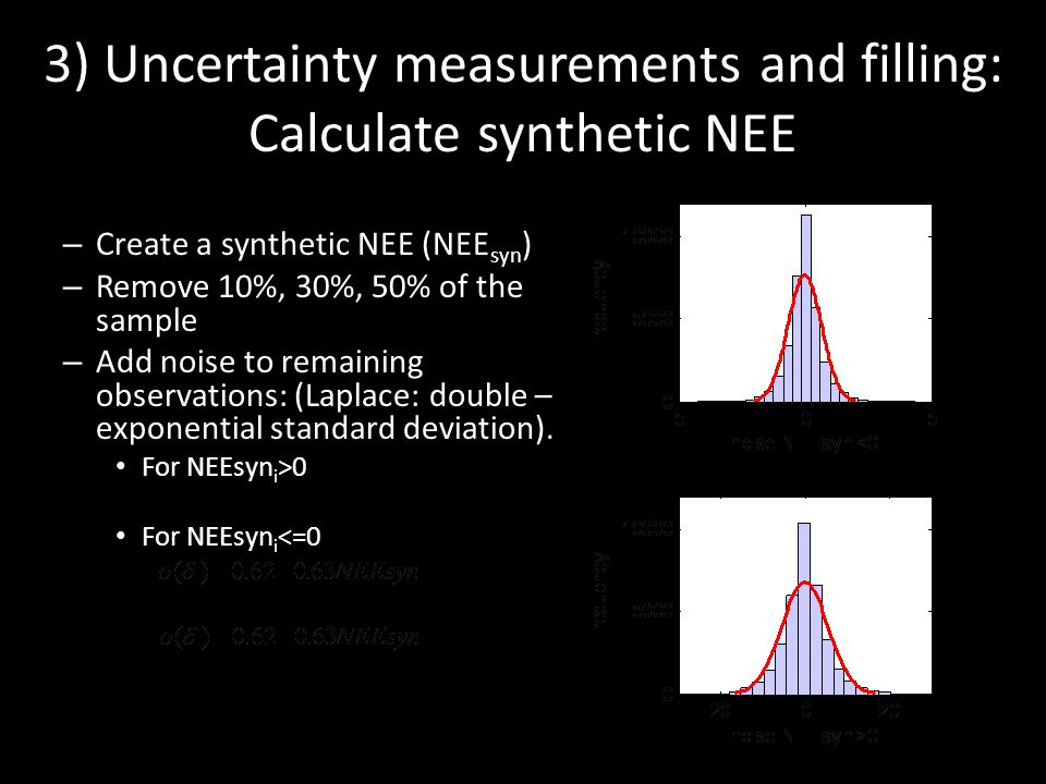 – Create a synthetic NEE (NEE syn ) – Remove 10%, 30%, 50% of the sample – Add noise to remaining observations: (Laplace: double – exponential standard deviation).