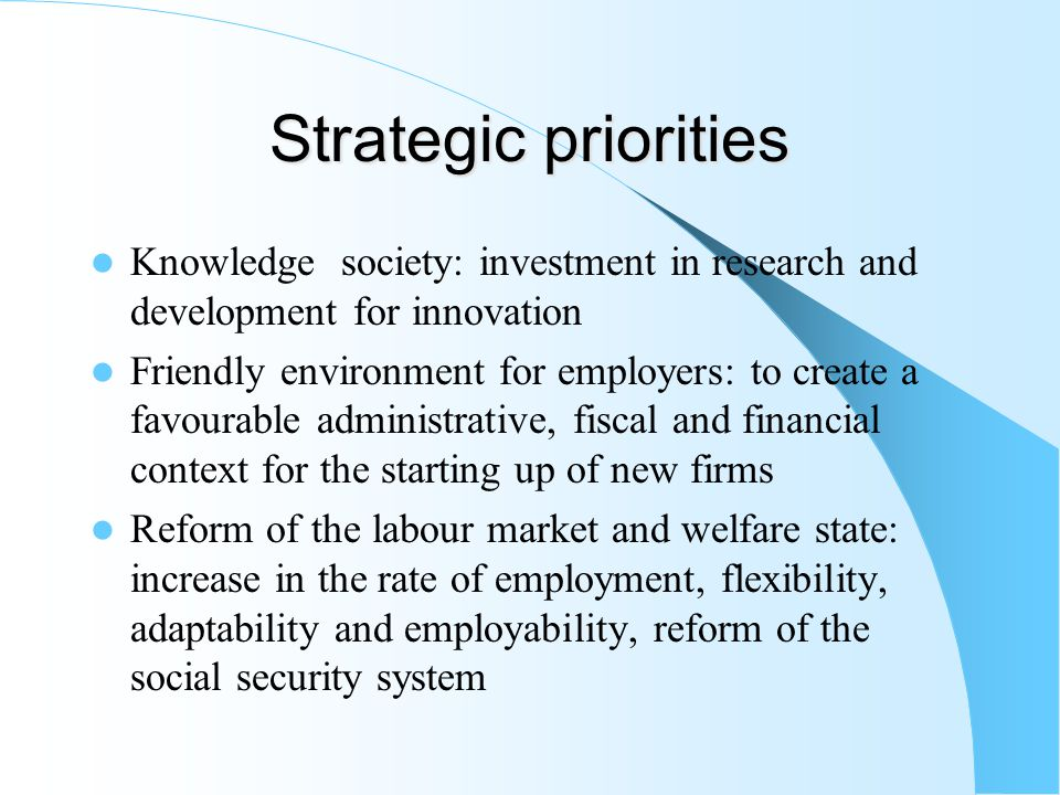 Strategic priorities Knowledge society: investment in research and development for innovation Friendly environment for employers: to create a favourable administrative, fiscal and financial context for the starting up of new firms Reform of the labour market and welfare state: increase in the rate of employment, flexibility, adaptability and employability, reform of the social security system