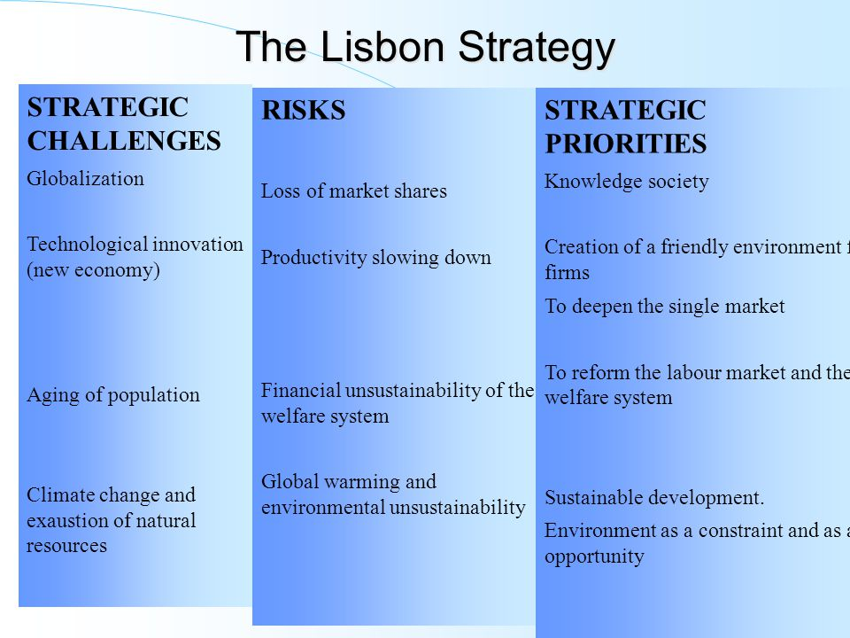 The Lisbon Strategy STRATEGIC CHALLENGES Globalization Technological innovation (new economy) Aging of population Climate change and exaustion of natural resources RISKS Loss of market shares Productivity slowing down Financial unsustainability of the welfare system Global warming and environmental unsustainability STRATEGIC PRIORITIES Knowledge society Creation of a friendly environment for firms To deepen the single market To reform the labour market and the welfare system Sustainable development.