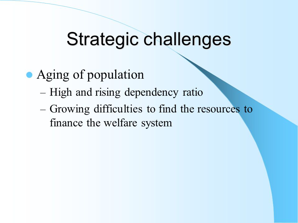 Strategic challenges Aging of population – High and rising dependency ratio – Growing difficulties to find the resources to finance the welfare system