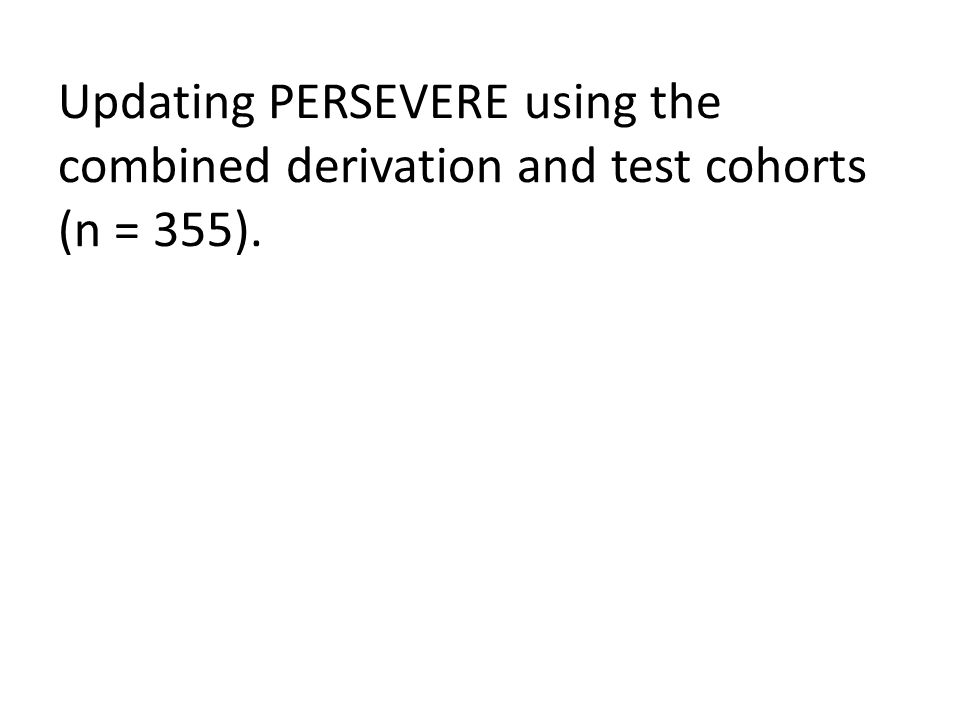Updating PERSEVERE using the combined derivation and test cohorts (n = 355).