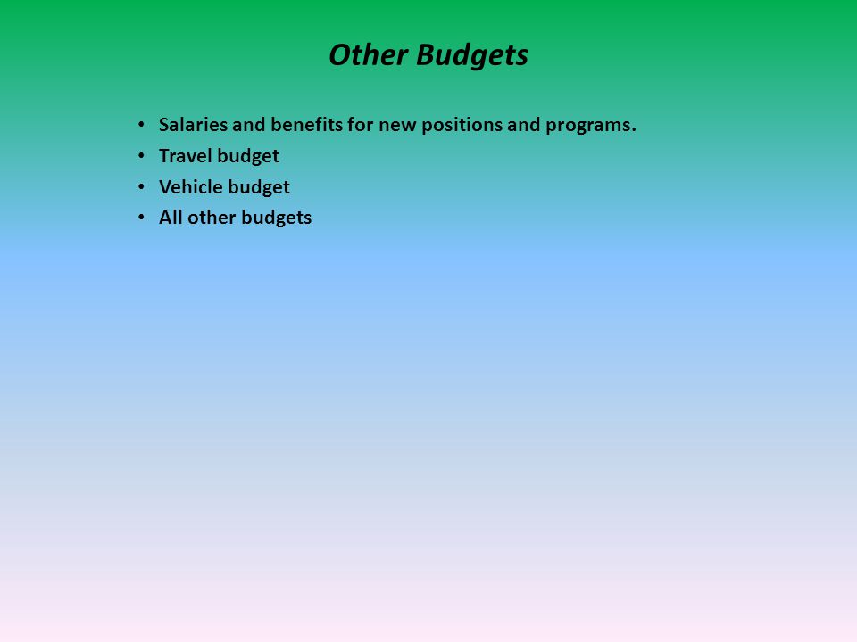 Other Budgets Salaries and benefits for new positions and programs.