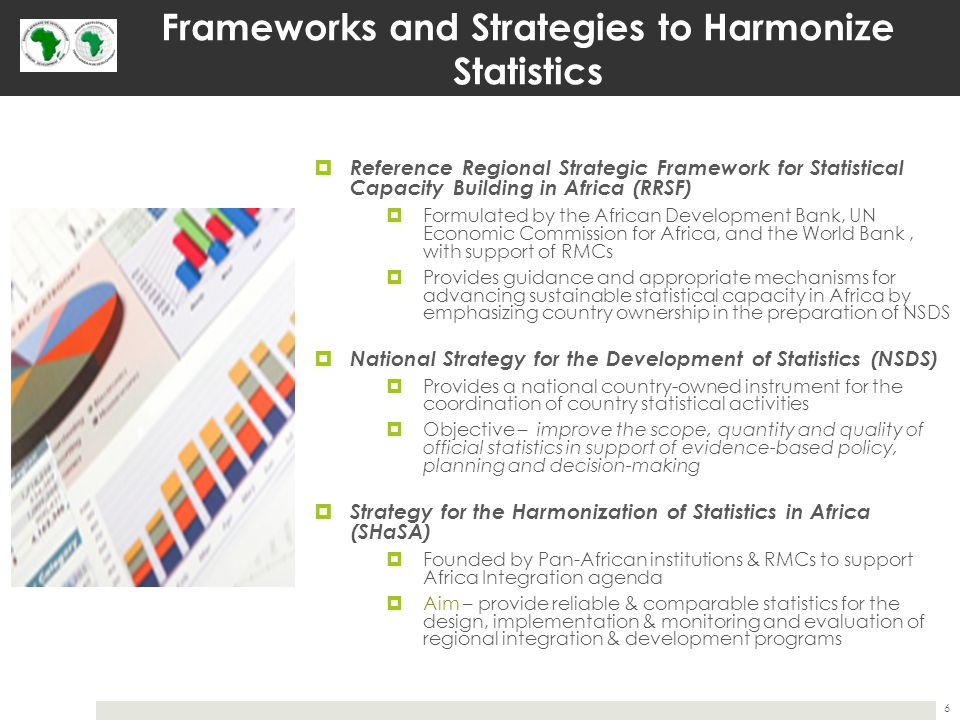 Frameworks and Strategies to Harmonize Statistics  Reference Regional Strategic Framework for Statistical Capacity Building in Africa (RRSF)  Formulated by the African Development Bank, UN Economic Commission for Africa, and the World Bank, with support of RMCs  Provides guidance and appropriate mechanisms for advancing sustainable statistical capacity in Africa by emphasizing country ownership in the preparation of NSDS  National Strategy for the Development of Statistics (NSDS)  Provides a national country-owned instrument for the coordination of country statistical activities  Objective – improve the scope, quantity and quality of official statistics in support of evidence-based policy, planning and decision-making  Strategy for the Harmonization of Statistics in Africa (SHaSA)  Founded by Pan-African institutions & RMCs to support Africa Integration agenda  Aim – provide reliable & comparable statistics for the design, implementation & monitoring and evaluation of regional integration & development programs 6